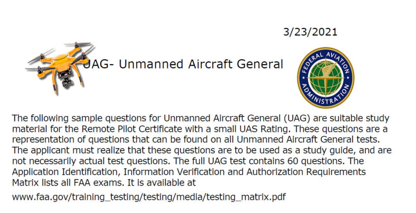 3/21/21 FAA Sample Part 107 Exam